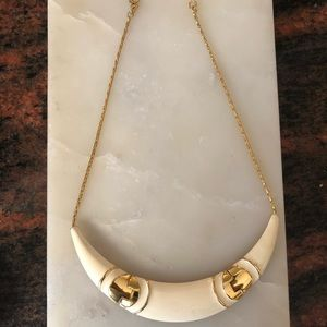 Monet vintage off white enamel and gold necklace